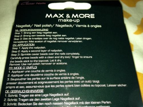 Max & More Nail-art Kaviar kit Action Gebruiksaanwijzing