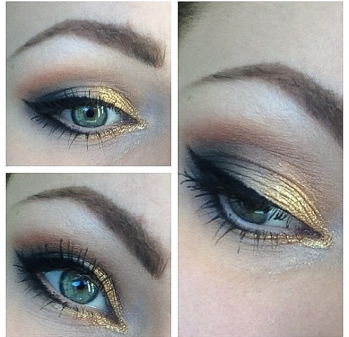 Gold & Brown eye look winked eyeliner