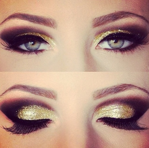 Gold & Brown Glitter Make-up Look