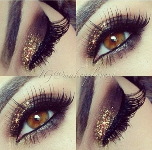 Gold Glitter & Brown Make-up Look