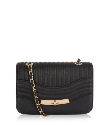 Black Quilted Panel Chain Strap Bag New Look
