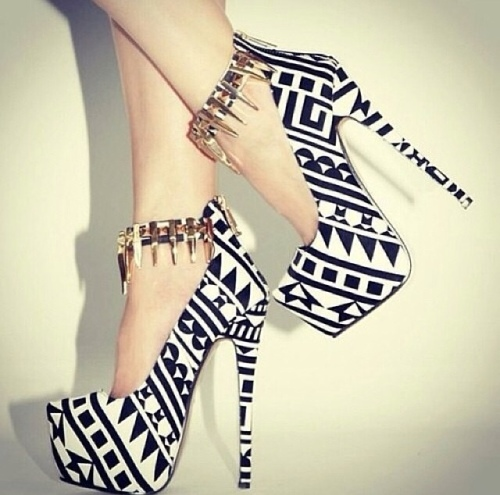 black and white aztec highheels