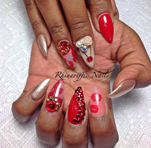 Red Nail-art @rhinarifficnails
