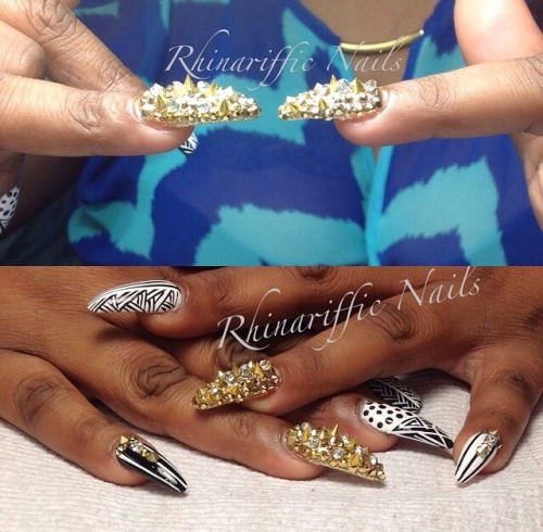 Gold White Black @rhinarifficnails