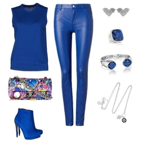 Blue Leather Look Outfit