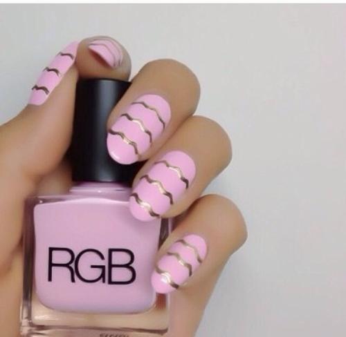 Roze/goud pink/gold nail-art