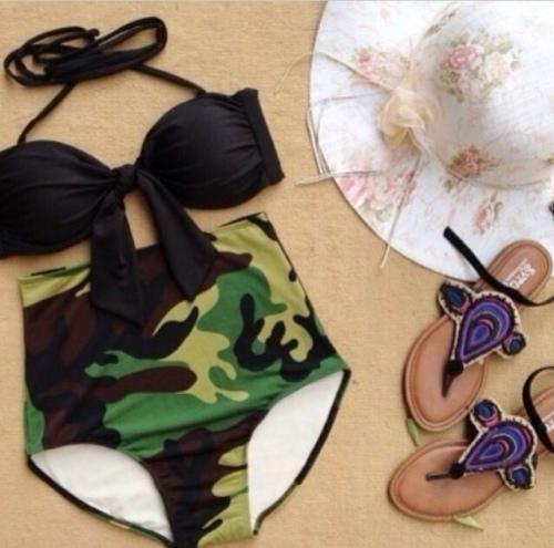 Army print bikini