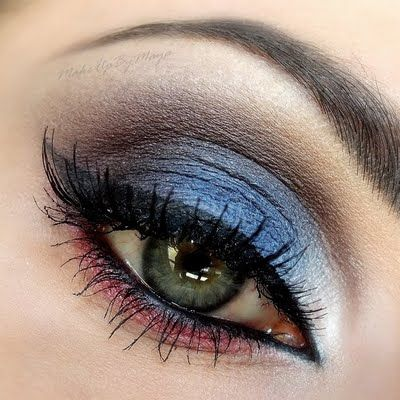 Rood, wit, blauwe make-up look