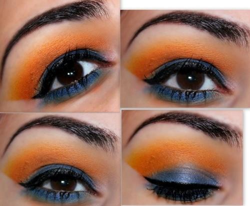 Oranje met blauwe make-up look