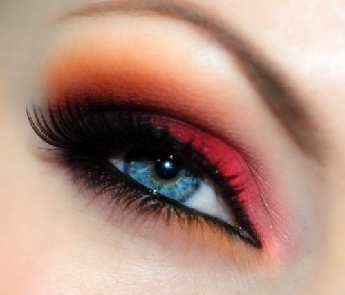 Rode en oranje make-up look